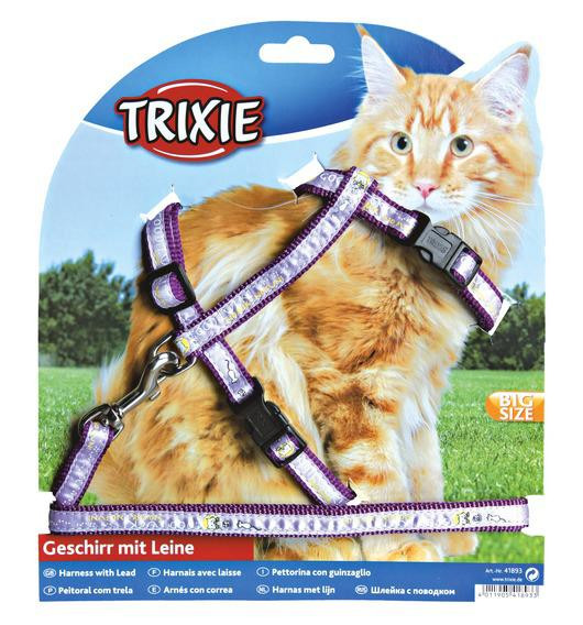 Шлейка с поводком для крупных кошек, 34-57см/13мм х 1,20 м (3 цвета)