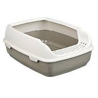 Кошачий туалет Delio с бортиком 35 х 20 х 48 см, темно-серый / кремовый