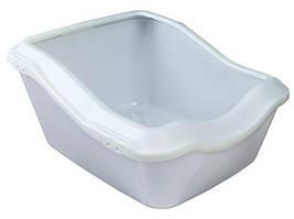 Кошачий туалет с бортиком, 45 х 21 (29) х 54 см, белый