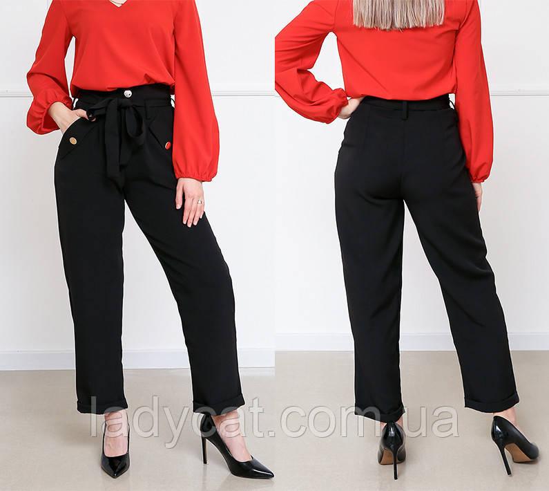 Женские черные брюки с завышенной талией