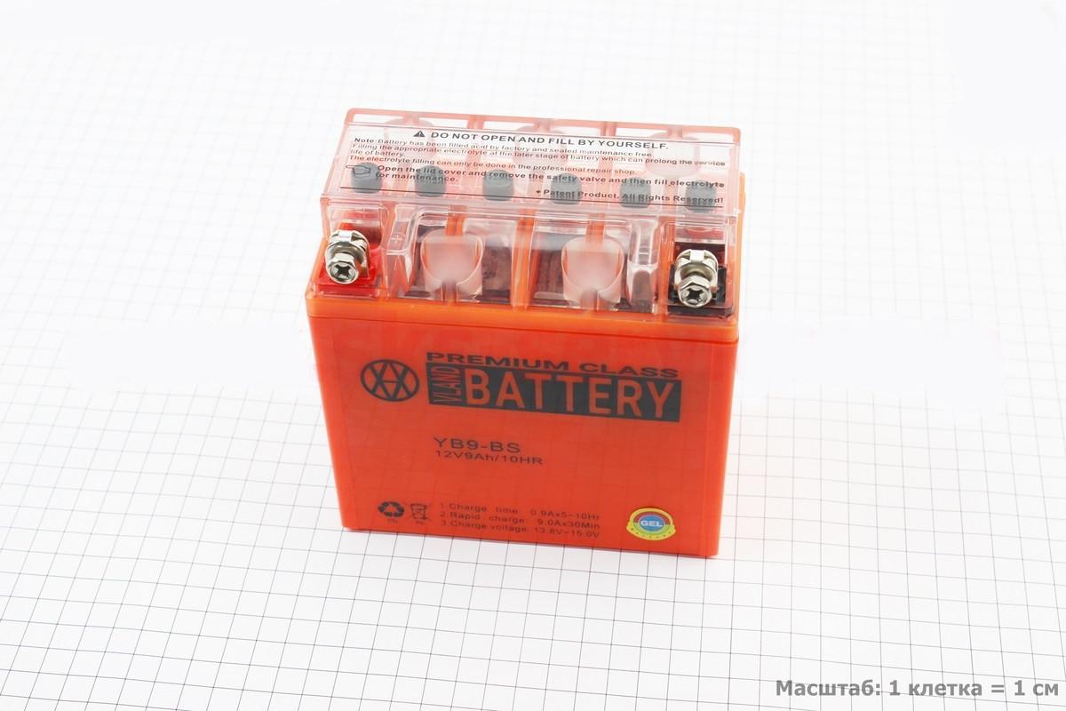 Аккумулятор 9Аh МОТО YB9-BS гелевый (L135*W75*H135mm), 2021