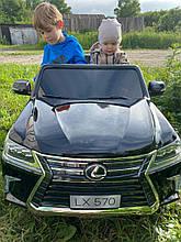 Детский электромобиль Джип M 3906(MP4) EBLR-2, Lexus LX570, колеса EVA, кожаное сиденье, черный