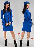 Костюм стильный женский  юбочный с баской, синий. Арт-3865/31