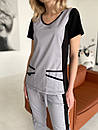 """Жіночий медичний костюм """"Альбіна"""" з трикотажними вставками, фото 6"""