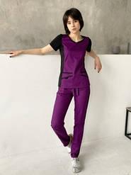 """Жіночий медичний костюм """"Альбіна"""" з трикотажними вставками"""