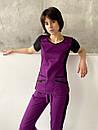 """Жіночий медичний костюм """"Альбіна"""" з трикотажними вставками, фото 2"""