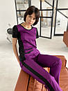 """Жіночий медичний костюм """"Альбіна"""" з трикотажними вставками, фото 3"""