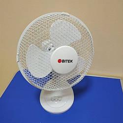 Вентилятор настольный бытовой BITEK 3 пластиковые лопасти диаметром 40см 40Вт. Витек домашний вентилятор
