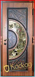 """Элитные входные двери в дом со стеклом и ковкой """"Адамант New"""" золотой дуб"""