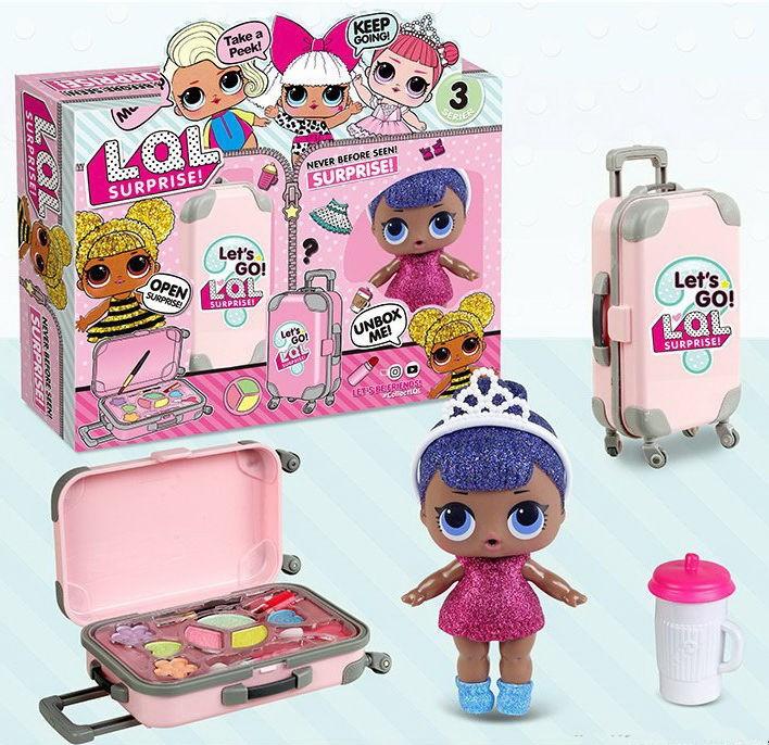 39-2 Кукла в чемодане,2 в 1 , с косметикой