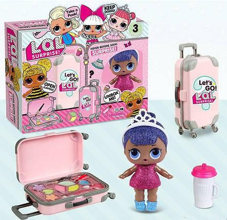 39-2 Кукла в чемодане,2 в 1 , с косметикой, фото 2