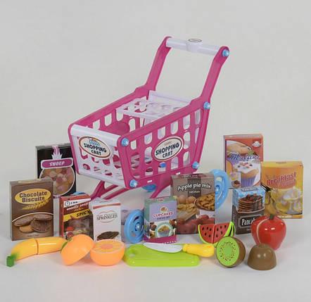 Ігровий набір-візок супермаркету з продуктами Shopping Cart, Дитячий ігровий візок для овочів, фото 2