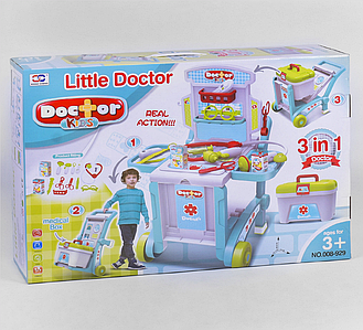 """Набір доктора """"3 в 1"""" 008-929 з валізою стіл візок тачка Toys"""