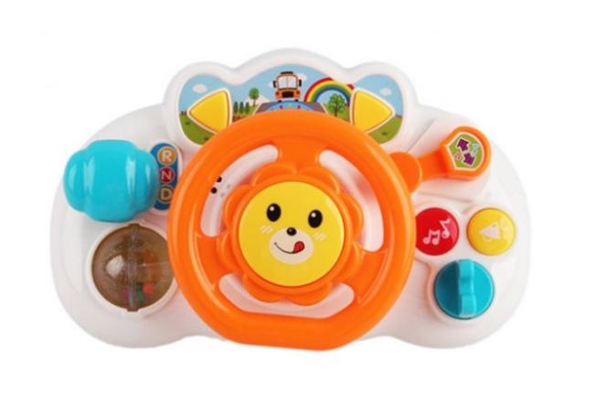 Детский интерактивный развивающий музыкальный руль с музыкой, тренажер для малышей QF366-033