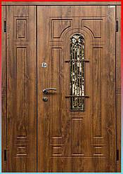 Полуторные двери со стеклом и ковкой Лучия дуб бронза / дуб золотой, комплектация Эталон