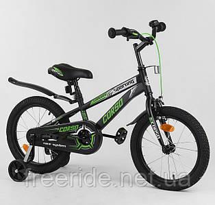 """Детский велосипед CORSO 16"""" R черно-зеленый"""
