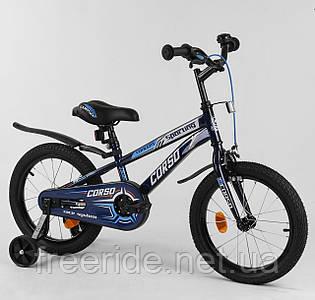 """Дитячий велосипед CORSO 16"""" R чорно-синій"""