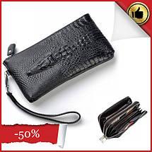 Мужской кожаный кошелек, клатч, портмоне Крокодил Alligator, фото 2
