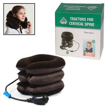 Подушка надувная на шею или фиксатор шеи, Ортопедический воротник, Tractors for Cervical Spine с насосом, фото 2