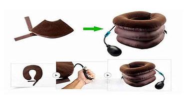 Подушка надувная на шею или фиксатор шеи, Ортопедический воротник, Tractors for Cervical Spine с насосом, фото 3