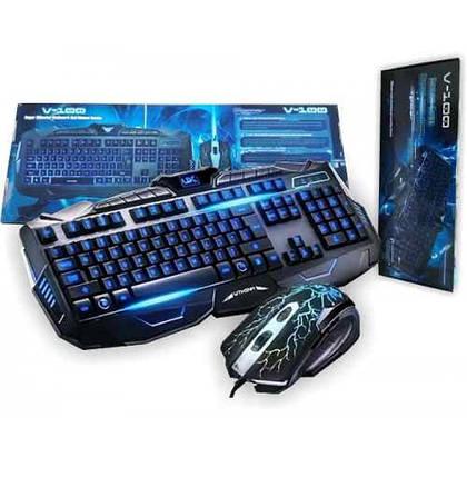 Набор профессиональной проводной игровой клавиатуры с USB и мышкой V-100P, Комплект геймерский с 3 подсветками, фото 2