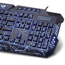Набор профессиональной проводной игровой клавиатуры с USB и мышкой V-100P, Комплект геймерский с 3 подсветками, фото 3