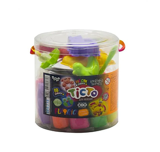 "Креативное творчество набор теста для лепки  Master Do ""FLUORIC"" туба 18 цветов с формами светится Toys"