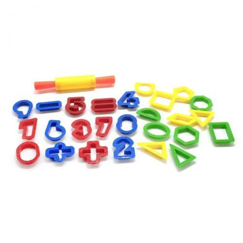 Набір інструментів для ліплення Play-Dough ERN-013 формочки вирубки цифри і геометрія з качалкою і ножами