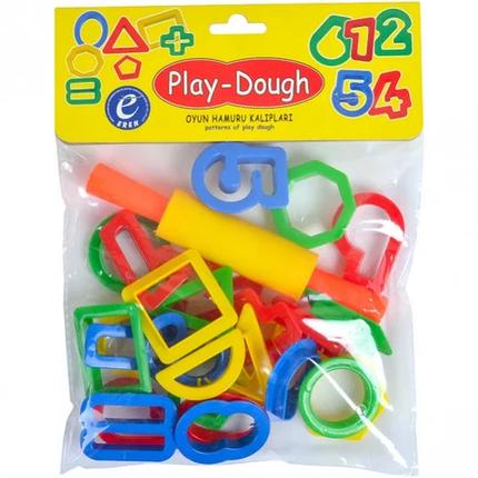Набір інструментів для ліплення Play-Dough ERN-013 формочки вирубки цифри і геометрія з качалкою і ножами, фото 2