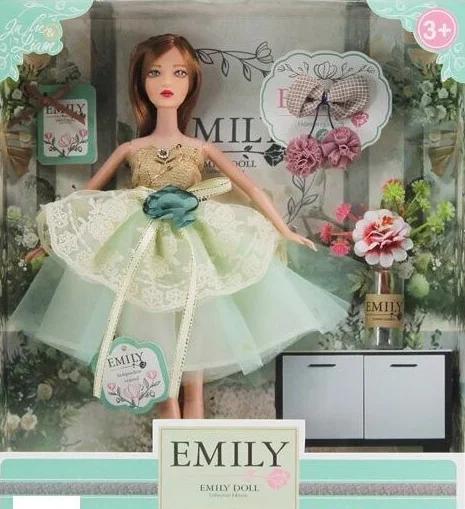 Лялька Emily без шарнірна в пишній сукні з довгим темним волоссям і аксесуарами в коробці, Емілі QJ 088 D