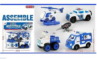 Набор спецтехники серии полиция RL 589-14 D конструктор 4 машинки и отвертка Toys