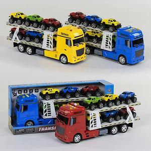 Детская игрушечная спецтехника Трейлер c 6 машинками инерционный (666-65 F) свет, звук Toys