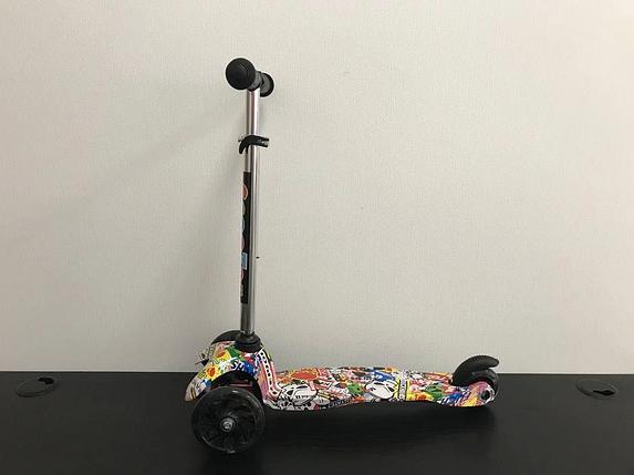 Самокат детский Scooter трёхколёсный со светящимися колёсами с принтом графити  CF-PA66, фото 2