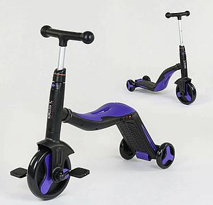 Детский самокат-велобег-велосипед 3 в 1 JT 30304, цвет фиолетовый, свет, 8 мелодий, колёса PU Toys