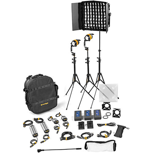 Dedolight DLED4.1/Felloni 2x1 Daylight 3-Light Master Kit (Mains & Battery Operation) (BLED2X1-D-M)