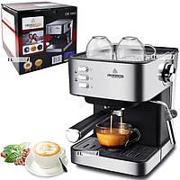 Кофеварка рожковая для дома электрическая кофемашина эспрессо полуавтоматическая 1.6л Crownberg 1000W Черная