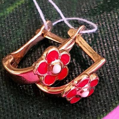 Золоті сережки для дівчинки з емаллю Квіточки - Дитячі золоті сережки з емаллю