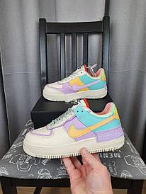 Nike Air Force 1 Shadow Pale Ivory разноцветные кроссы женские. Кроссовки Найк Аир Форсе бежевые с цветными