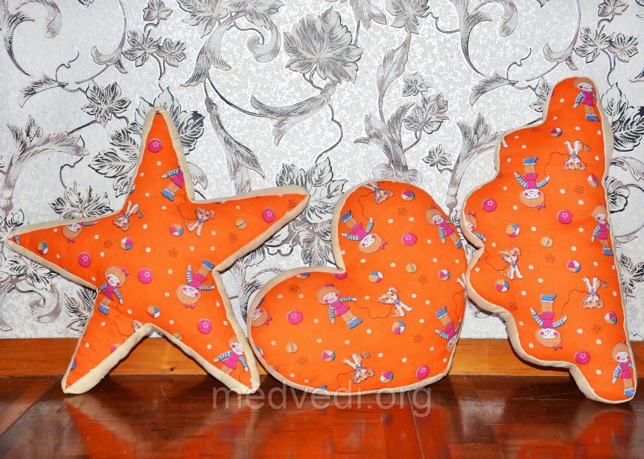 Детские декоративные подушки, тучка, звезда и сердце