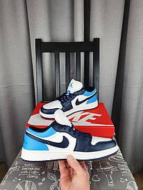 Темно синие Nike Air Jordan 1 Low Obsidian кроссовки мужские Кроссы Найк Аир Джордан Ретро 1 Лов в синем цвете