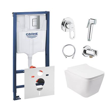 Комплект інсталяція Grohe Rapid SL 38772001 + унітаз з сидінням Qtap Crow QT05335170W + набір для, фото 2