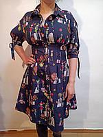 Красивое синее платье с вырезом на рукаве и двумя карманами р 36 евро (Ликвидация склада, распродажа)