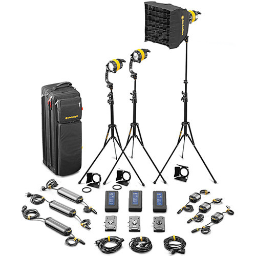 Dedolight DLED4.1-D Daylight LED 3-Light Standard Kit (Mains & Battery Operation) (SLED3-D-S)