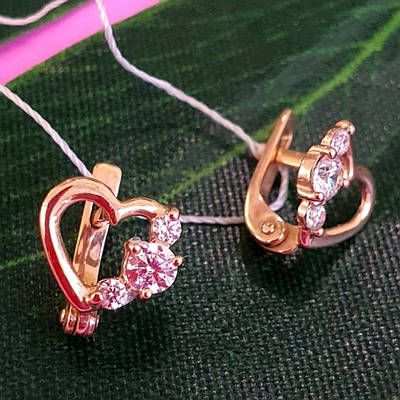Дитячі золоті сережки Сердечка - Золоті сережки для дівчинки Серце