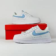Женские кроссовки Nike Air Force White-Blue (бело-голубые) DB1183 модные кожаные кроссы