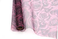 Органза флористическая с рисунком розы (белый + вишневый)