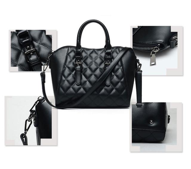 Подробные детали женской черной сумки через плечо.