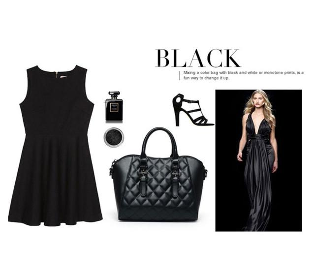 Lookbook черной женской сумки через плечо.