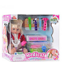 Кукла 1303 B набор доктора в чемодане, звук, 38см