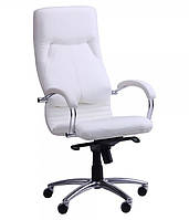 Кресло Ника HB хром Кожа Люкс комбинированная белая